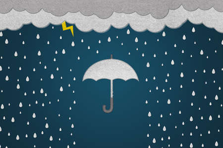 Security Concept With Umbrella, Clouds And Rain - Realistic Stitched Felt Illustration - Isolated On Dark Gradient Background