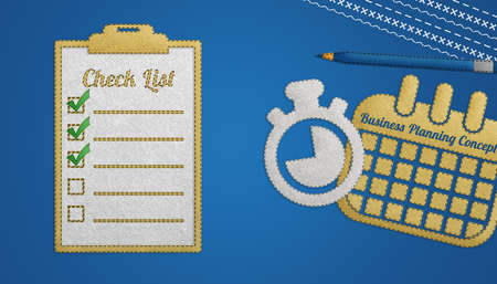 Time Management Or Planning For Business Meeting Concept - Realistic Stitched Felt Illustration - Isolated On Blue Gradient Background