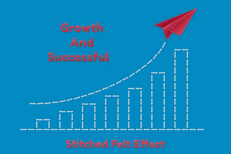 Growth And Successful Concept - Stitched Felt Effect - Isolated On Blue Background Banque d'images