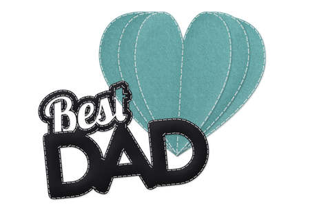 Best Dad And Heart Book - Fathers Day Illustration - Isolated On White Background Banque d'images