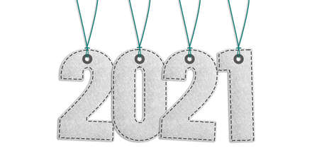 Year 2021 Lettering - Realistic Stitched Felt 3D Illustration - Isolated On White Background With Clipping Path