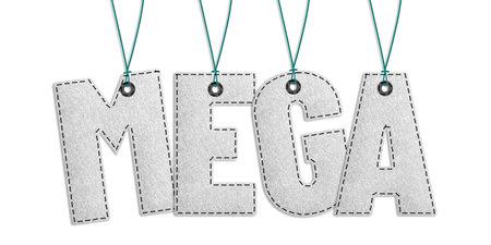 Hanging Mega Lettering - Realistic Stitched Felt 3D Illustration Isolated On White Background Banque d'images