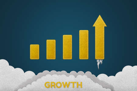 Growth And Successful Concept - Stitched Felt Effect - Isolated On Blue Gradient Background