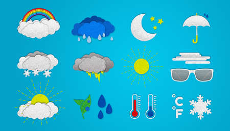 Weather icons set on cyan Banque d'images