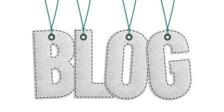 Hanging Blog Lettering - Realistic Stitched Felt 3D Illustration - Isolated On White Background