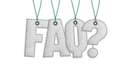 Hanging Faq Lettering - Realistic Stitched Felt 3D Illustration Isolated On White Background With Clipping Path