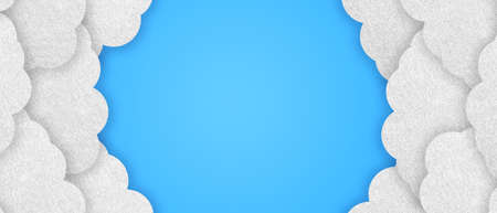 Cloud Sky Background - Realistic Felt 3D Illustration - Isolated On Blue Background With Clipping Path Banque d'images