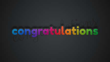 Congratulations Lettering - Colorful Textured 3D Illustration With Shadows - Isolated On Gray Gradient Background