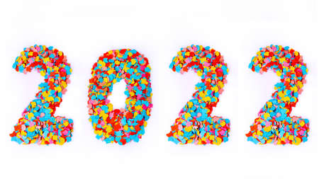 New Year - Confetti numbers 2022 - Isolated on white background