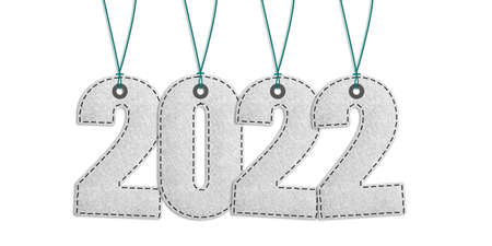 Year 2022 Lettering - Realistic Stitched Felt 3D Illustration - Isolated On White Background With Clipping Path