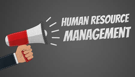 Human Resources And Management Concept - Hand Holding Megaphone - Realistic Stitched Felt 3D Illustration With Clipping Path