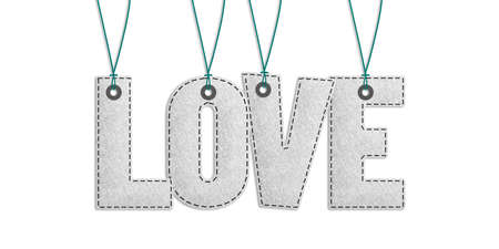 Love Lettering Cocept - Realistic Felt 3D Illustration - Isolated On White Background - With Clipping Path