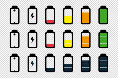Battery Status Full, Half And Empty - Editable Vector Icons - Isolated On Transparent Background