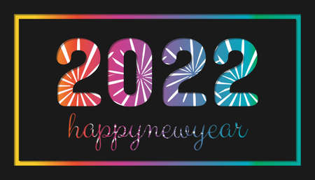 Happy New Year 2022 With Firework - Colorful Card Design - Vector Illustration On Black Background