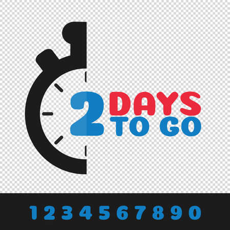 Days To Go Business Concept With Interchangeable Numbers - Vector Illustration Isolated On Transparent Background