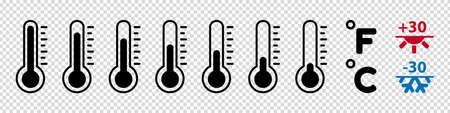 Thermometer Temperature Icon Set - Vector Illustrations - Isolated On Transparent Background
