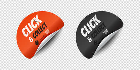 Click And Collect Sticker With Rounded Corner - Vector Illustrations Isolated On Transparent Background