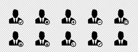 Business Men, Account Icons, Avatar Icons - Vector Illustrations Isolated On Transparent Background