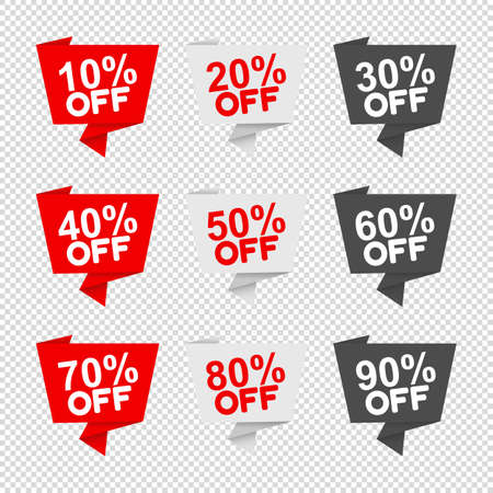 Different Percent Labels - Vector Illustrations Set - Isolated On Transparent Background Stock Illustratie
