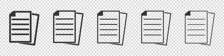 Document Icon Set - Different Vector Illustrations - Isolated On Transparent Background Illustration