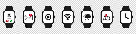 Smart Watch Icon Set - Different Vector Illustrations - Isolated On Transparent Background Illustration
