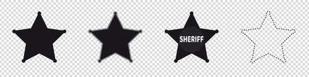 Sheriff Star Symbols - Different Vector Illustrations - Isolated On Transparent Background Stock Illustratie