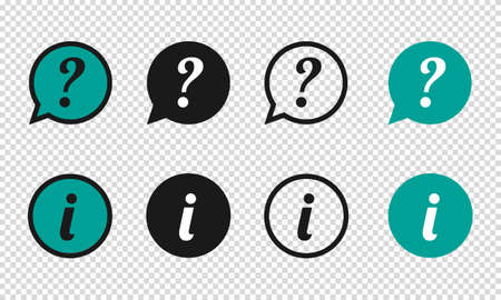 Question And Information Speech Bubbles Icons - Different Vector Illustrations - Isolated On Transparent Background