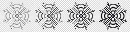 Spider Web Set - Different Vector Illustrations - Isolated On Transparent Background