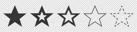 Different Star Symbols - Vector Illustration Set - Isolated On Transparent Background Illustration