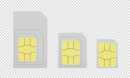 Mobile Sim Cards Different Sizes - Vector Illustrations - Isolated On Transparent Background Illustration
