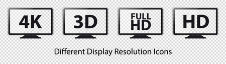 TV Resolutions 4K, 3D, HD And FullHD - Vector Icons - Isolated On Transparent Background