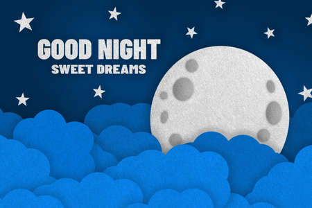 Good Night Concept - 3D Illustration With Moon, Clouds And Stars - Isolated On Dark Blue Background
