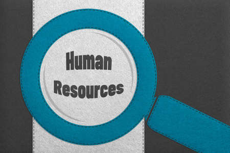 Human Resources Concept - 3D Business Illustration With Magnifying Glass And Text Lettering - Isolated On Gray And White Background