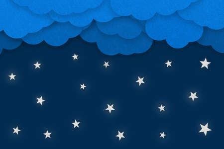 Good Night Concept - 3D Illustration With Clouds And Shining Stars - Isolated On Dark Blue Background