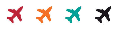 Airplane Icon Set - Colorful Vector Illustrations - Isolated On White Background