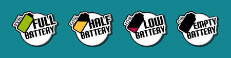 Battery Status Full Half Low Empty Stickers - Colorful Vector Illustration - Isolated On Monochrome Background
