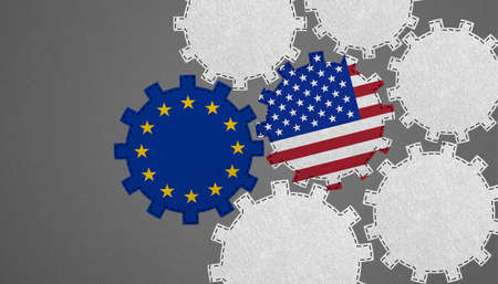 Transatlantic Relations, Common Future Europe And The USA - Political Business Concept With Gears