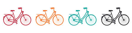 Bicycle silhouette icon set on white
