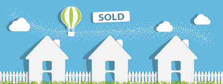 House Sold - Property Real Estate Concept - Isolated On Blue Background Stock Illustratie