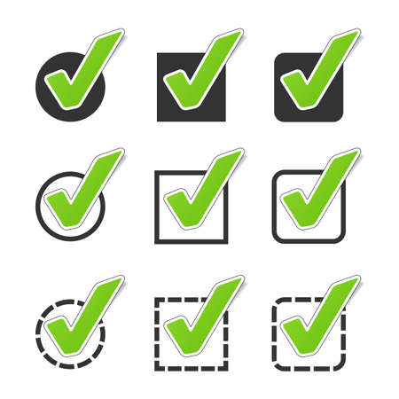 Different Checkbox Icon Set - Green Vector Illustration - Isolated On White Background Stock Illustratie
