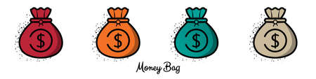 Money Bag Symbol Icons - Different Vector Illustrations Isolated On White Background