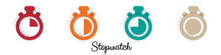 Stopwatch Icon Set - Vector Illustrations Isolated On White Background
