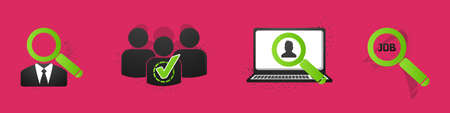 Recruitment Concept Icon Set - Vector Illustrations Isolated On Pink Background