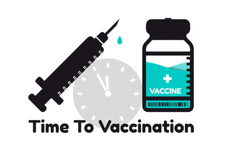 Time To Vaccination Concept With Syringe And Vaccine Bottle - Vector Illustration Isolated On White Background