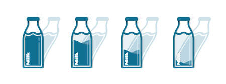 Different Milk Bottle Icons - Vector Illustrations Set - Isolated On White Background