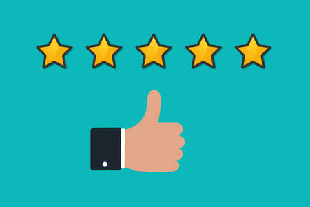 Thumbs Up Concept With Hand And Rating Stars - Vector Illustration Isolated On Monochrome Background
