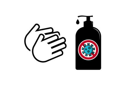Hand Sanitizer Anti Virus Lotion Bottle - Vector Illustration Isolated On White Background