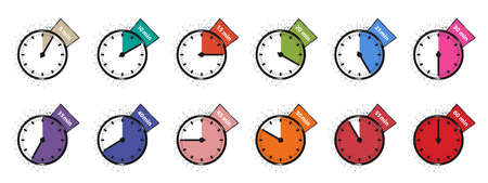 Different Timer Icons - Colorful Vector Illustrations Set - Isolated On White Background