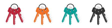 Keychain Icons - Colorful Vector Illustrations Set - Isolated On White Background Illustration
