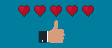 Thumbs Up Concept With Hand And Rating Hearts - Vector Illustration Isolated On Monochrome Background